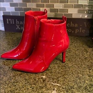 Forever 21 red patent leather booties